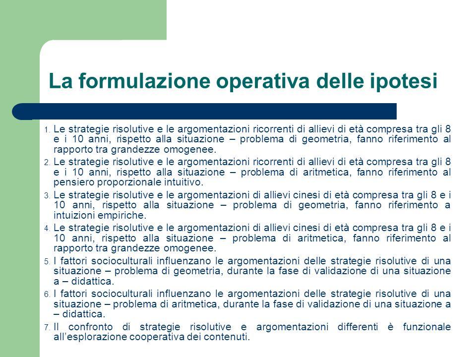 La formulazione operativa delle ipotesi 1.