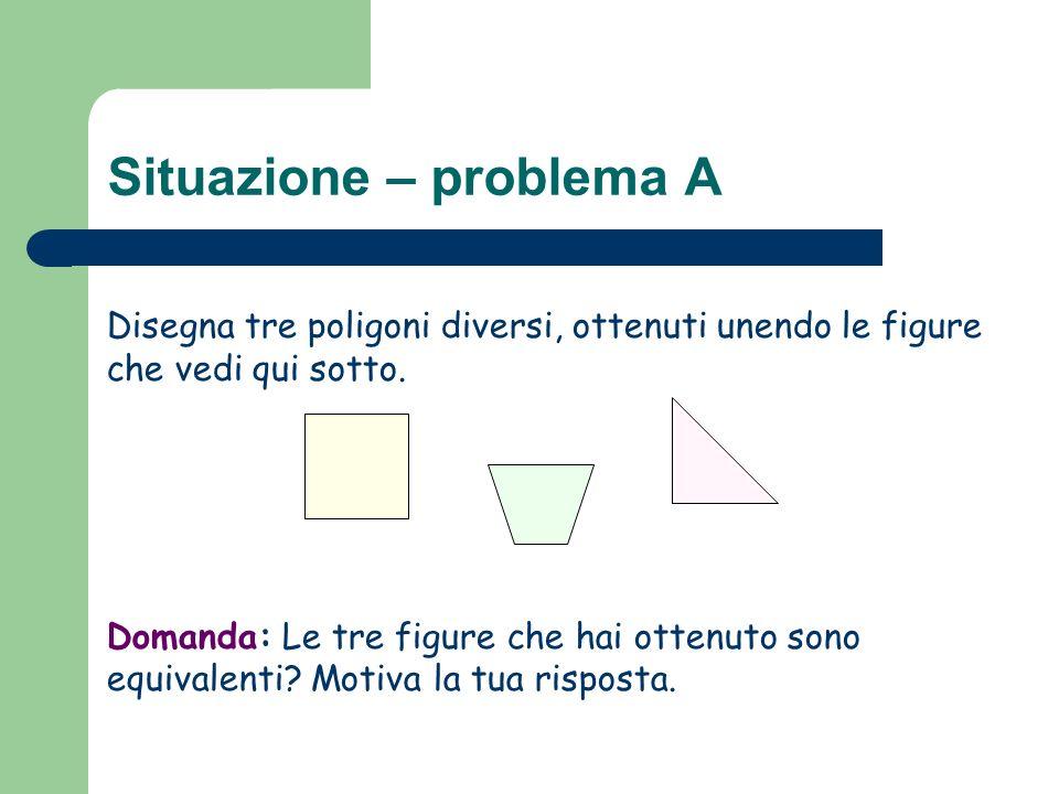 Situazione – problema A Disegna tre poligoni diversi, ottenuti unendo le figure che vedi qui sotto. Domanda: Le tre figure che hai ottenuto sono equiv