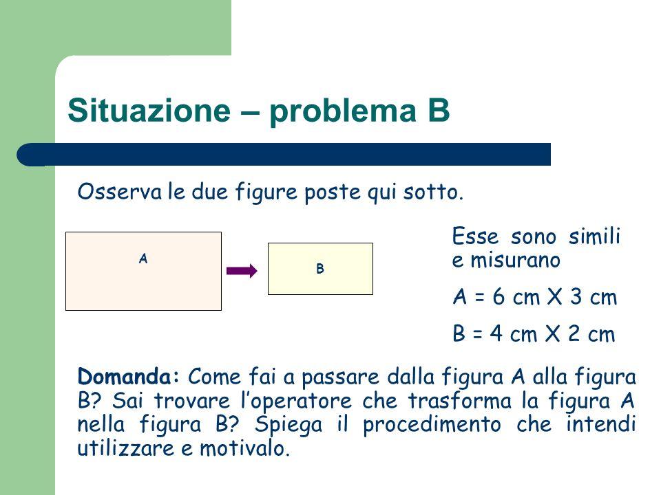 Situazione – problema B Osserva le due figure poste qui sotto. Domanda: Come fai a passare dalla figura A alla figura B? Sai trovare loperatore che tr