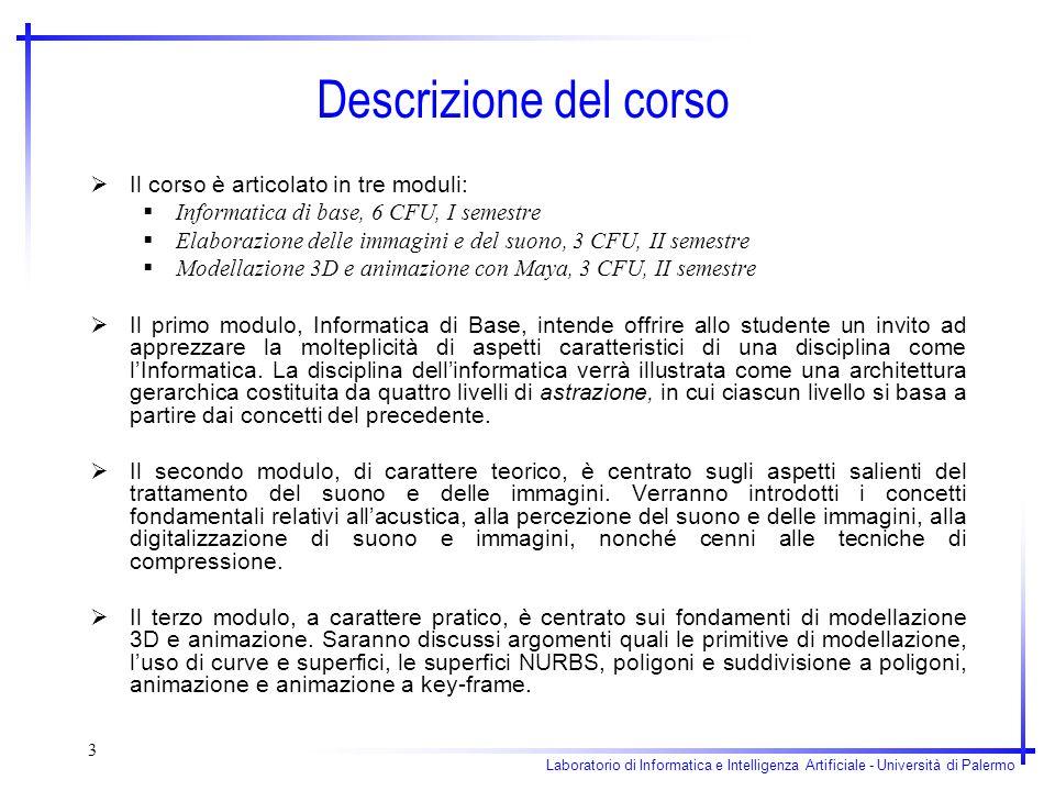 Laboratorio di Informatica e Intelligenza Artificiale - Università di Palermo 3 Descrizione del corso Il corso è articolato in tre moduli: Informatica