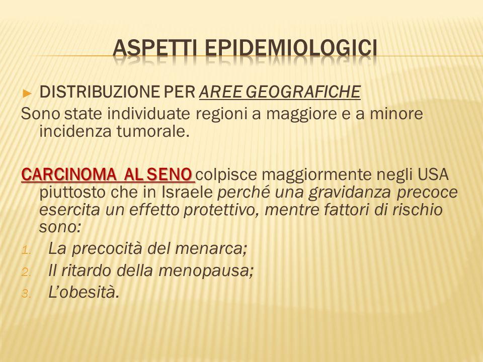 DISTRIBUZIONE PER AREE GEOGRAFICHE Sono state individuate regioni a maggiore e a minore incidenza tumorale.