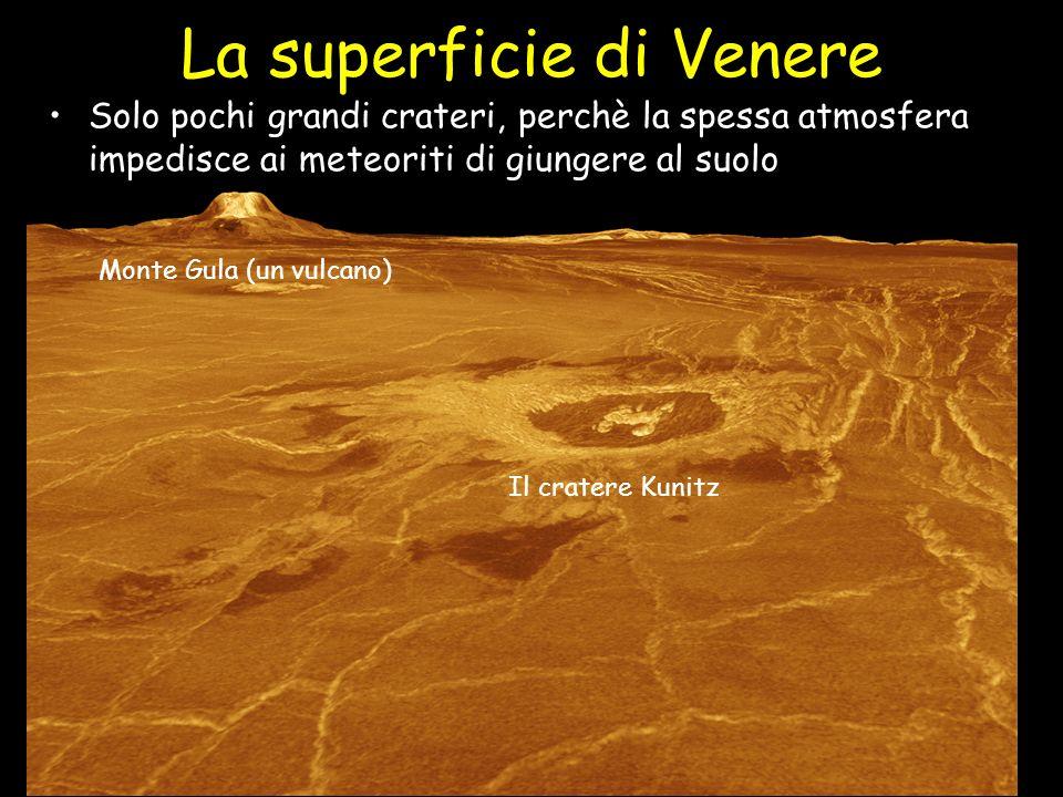 La superficie di Venere Solo pochi grandi crateri, perchè la spessa atmosfera impedisce ai meteoriti di giungere al suolo! Monte Gula (un vulcano) Il