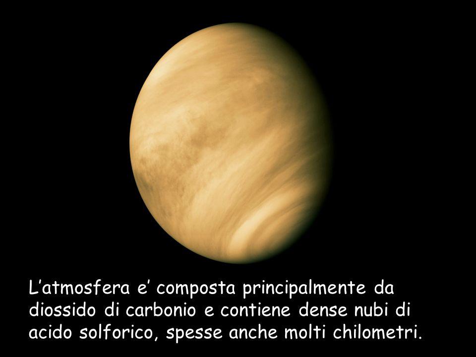Latmosfera e composta principalmente da diossido di carbonio e contiene dense nubi di acido solforico, spesse anche molti chilometri.