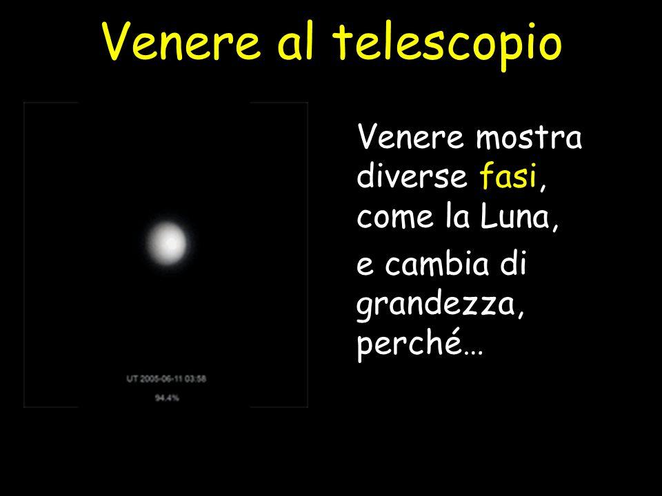 Venere mostra diverse fasi, come la Luna, e cambia di grandezza, perché… Venere al telescopio