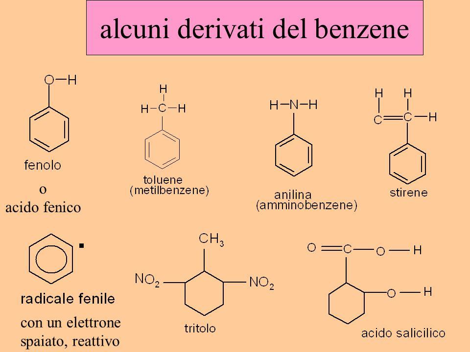 alcuni derivati del benzene o acido fenico con un elettrone spaiato, reattivo