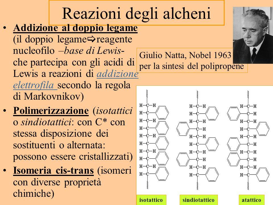 Giulio Natta, Nobel 1963 per la sintesi del polipropene Reazioni degli alcheni Addizione al doppio legame (il doppio legame reagente nucleofilo –base di Lewis- che partecipa con gli acidi di Lewis a reazioni di addizione elettrofila secondo la regola di Markovnikov)addizione elettrofila Polimerizzazione (isotattici o sindiotattici: con C* con stessa disposizione dei sostituenti o alternata: possono essere cristallizzati) Isomeria cis-trans (isomeri con diverse proprietà chimiche) isotatticosindiotatticoatattico