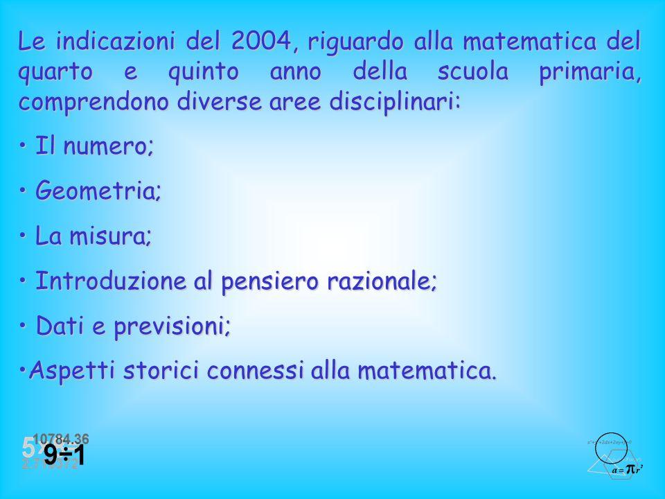 Nel 2004 si parla non più di Programmi Ministeriali ma di Indicazioni Nazionali per i Piani di studio personalizzati nella Scuola Primaria. La scuola