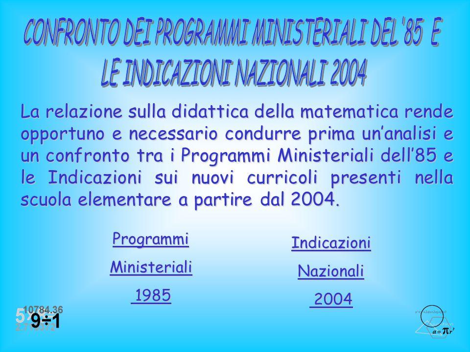 Confronto tra i Programmi Ministeriali del 1985 e le Indicazioni Nazionali del 2004 Confronto tra i Programmi Ministeriali del 1985 e le Indicazioni N