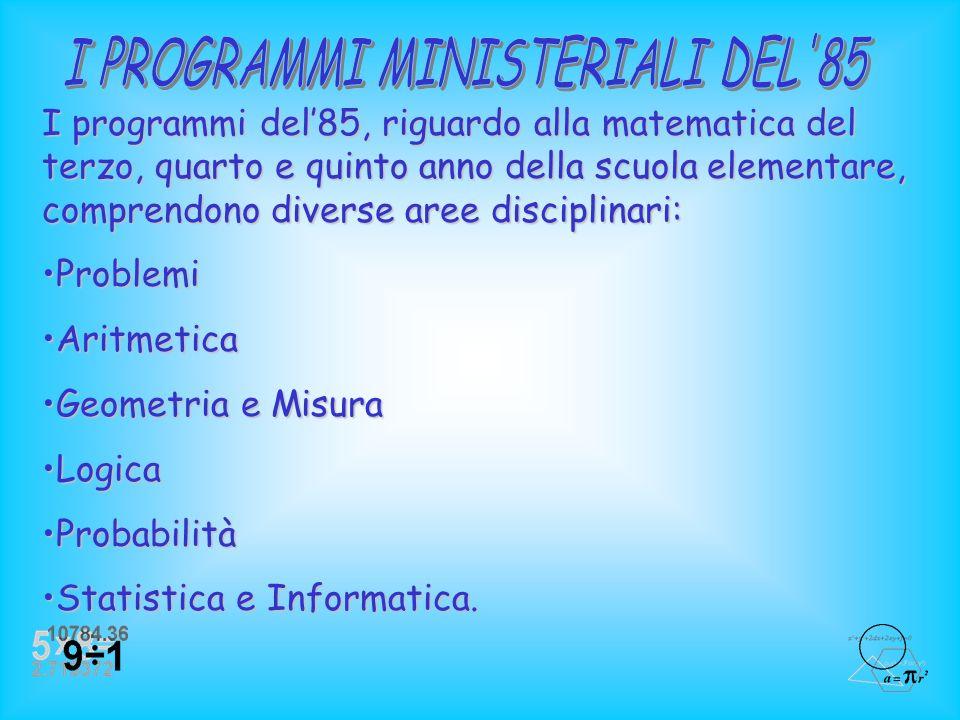 La relazione sulla didattica della matematica rende opportuno e necessario condurre prima unanalisi e un confronto tra i Programmi Ministeriali dell85