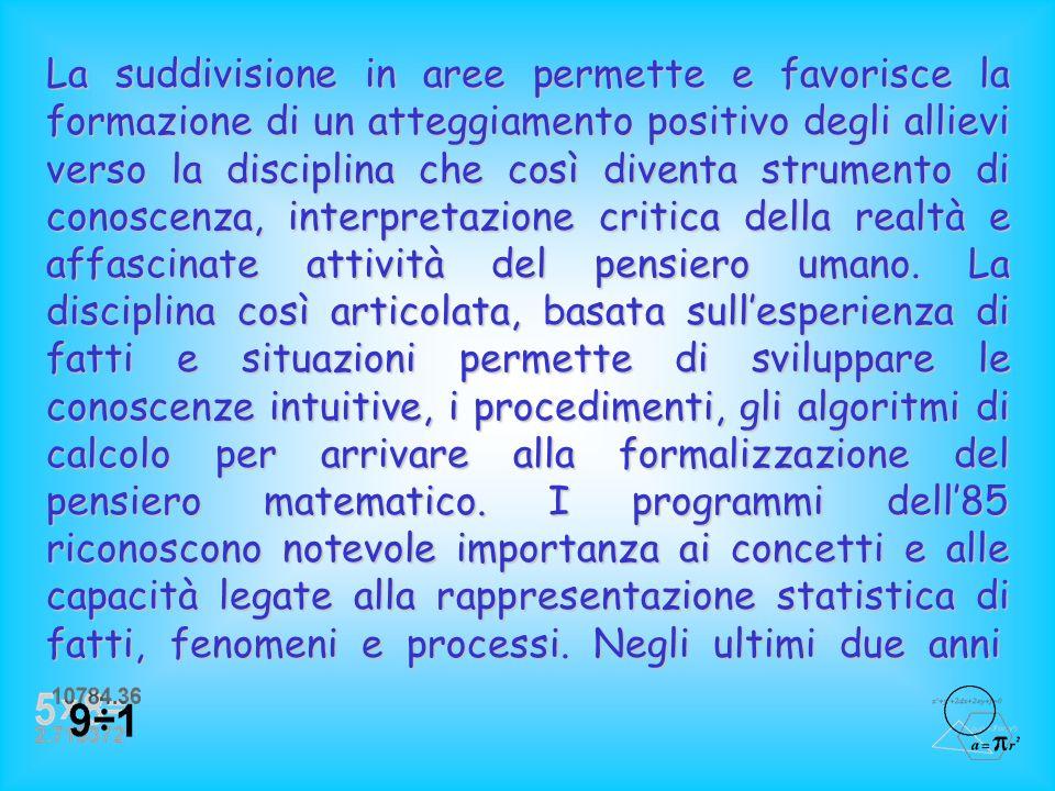 I programmi del85, riguardo alla matematica del terzo, quarto e quinto anno della scuola elementare, comprendono diverse aree disciplinari: ProblemiPr