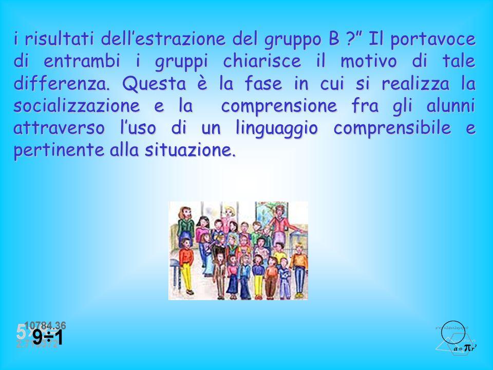 Gli alunni vengono divisi in due gruppi: gruppo A che ha ottenuto maggior numero di estrazioni alla fragola; gruppo B che ha invece ottenuto minor num