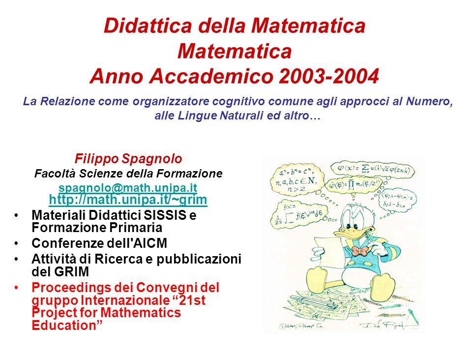Didattica della Matematica Matematica Anno Accademico 2003-2004 Filippo Spagnolo Facoltà Scienze della Formazione spagnolo@math.unipa.it http://math.u