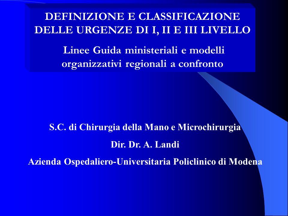 DEFINIZIONE E CLASSIFICAZIONE DELLE URGENZE DI I, II E III LIVELLO Linee Guida ministeriali e modelli organizzativi regionali a confronto S.C. di Chir