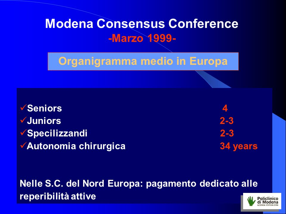 Seniors 4 Juniors 2-3 Specilizzandi 2-3 Autonomia chirurgica 34 years Nelle S.C. del Nord Europa: pagamento dedicato alle reperibilità attive Organigr