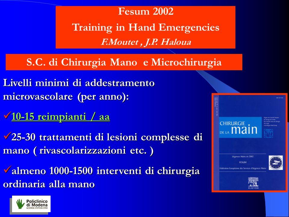 Livelli minimi di addestramento microvascolare (per anno): 10-15 reimpianti / aa 10-15 reimpianti / aa 25-30 trattamenti di lesioni complesse di mano ( rivascolarizzazioni etc.