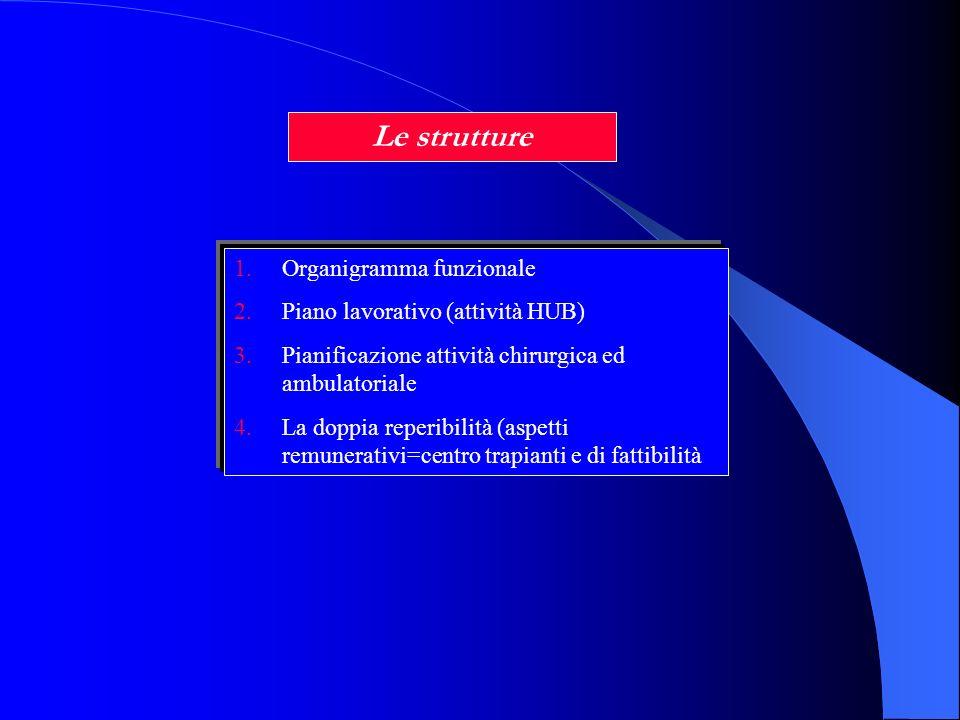 Le strutture 1.Organigramma funzionale 2.Piano lavorativo (attività HUB) 3.Pianificazione attività chirurgica ed ambulatoriale 4.La doppia reperibilit