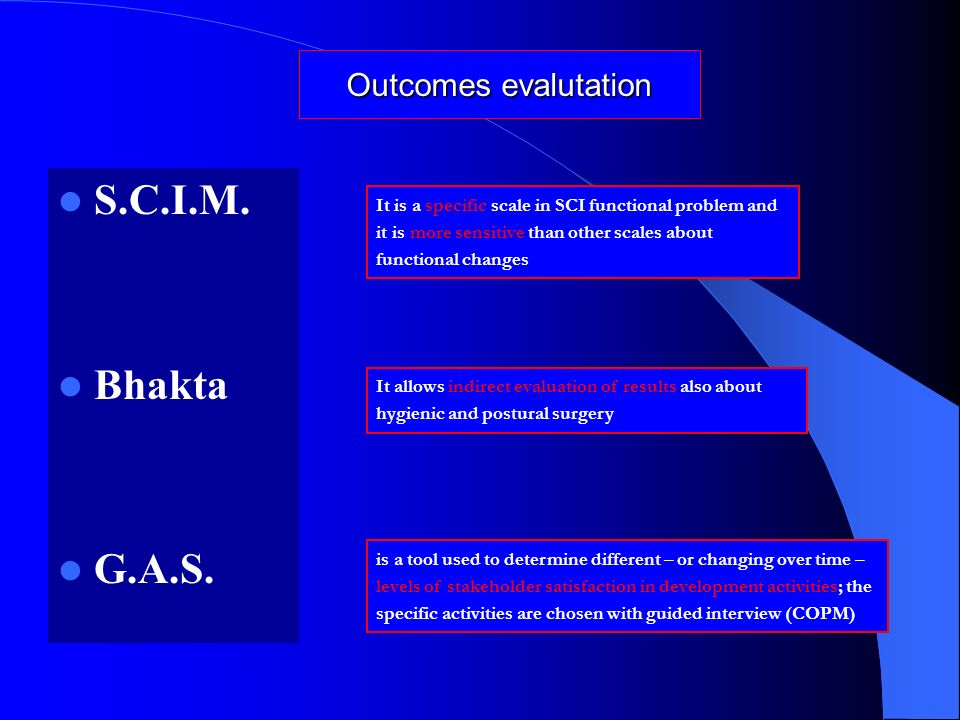 Outcomes evalutation S.C.I.M. Bhakta G.A.S. It is a specific scale in SCI functional problem and it is more sensitive than other scales about function