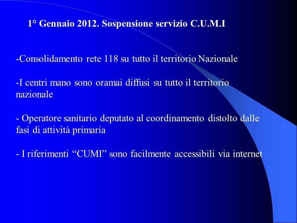1° Gennaio 2012. Sospensione servizio C.U.M.I -Consolidamento rete 118 su tutto il territorio Nazionale -I centri mano sono oramai diffusi su tutto il