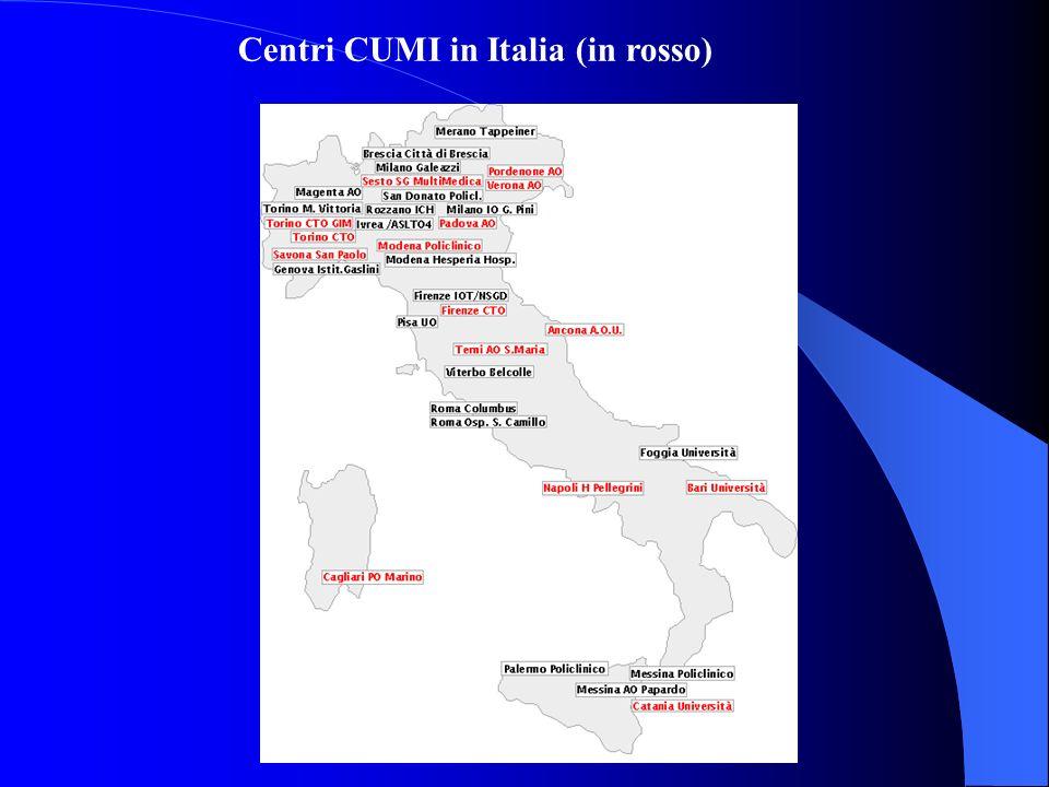 C E N T R I C E N T RI DI C HI R U R GI A D E L L A M A N O A C C R E DI T A TI E C E R TI FI C A TI D A L L A SI C M IN R O S S O I C E N T RI C U M I ( C O O R DI N A M E N T O U R G E N Z E M A N O IT A LI A ) Centri CUMI in Italia (in rosso)