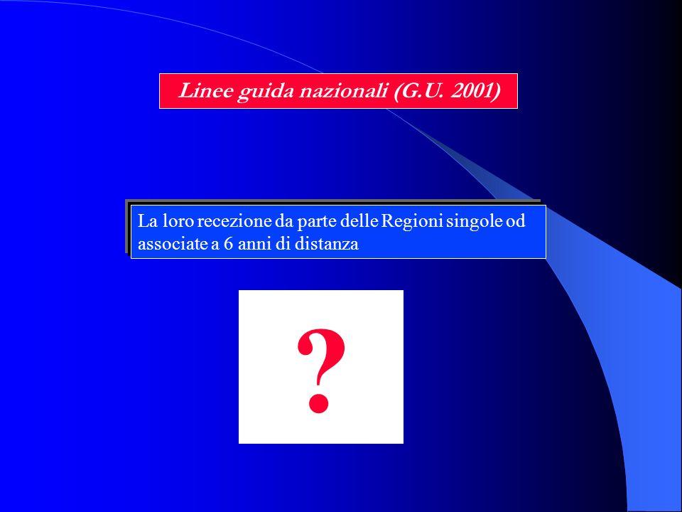 Linee guida nazionali (G.U. 2001) La loro recezione da parte delle Regioni singole od associate a 6 anni di distanza ?