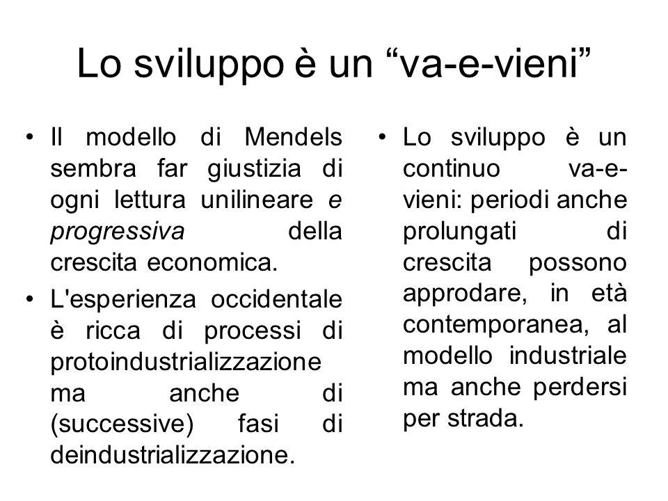 Lo sviluppo è un va-e-vieni Il modello di Mendels sembra far giustizia di ogni lettura unilineare e progressiva della crescita economica. L'esperienza