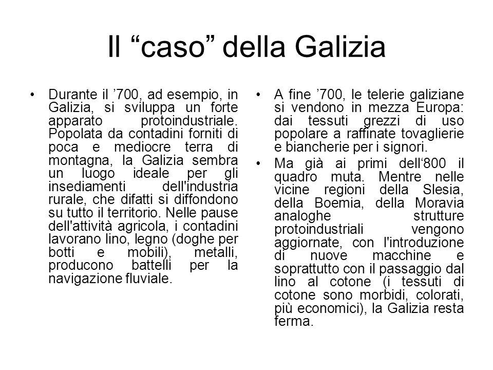 Il caso della Galizia Durante il 700, ad esempio, in Galizia, si sviluppa un forte apparato protoindustriale. Popolata da contadini forniti di poca e
