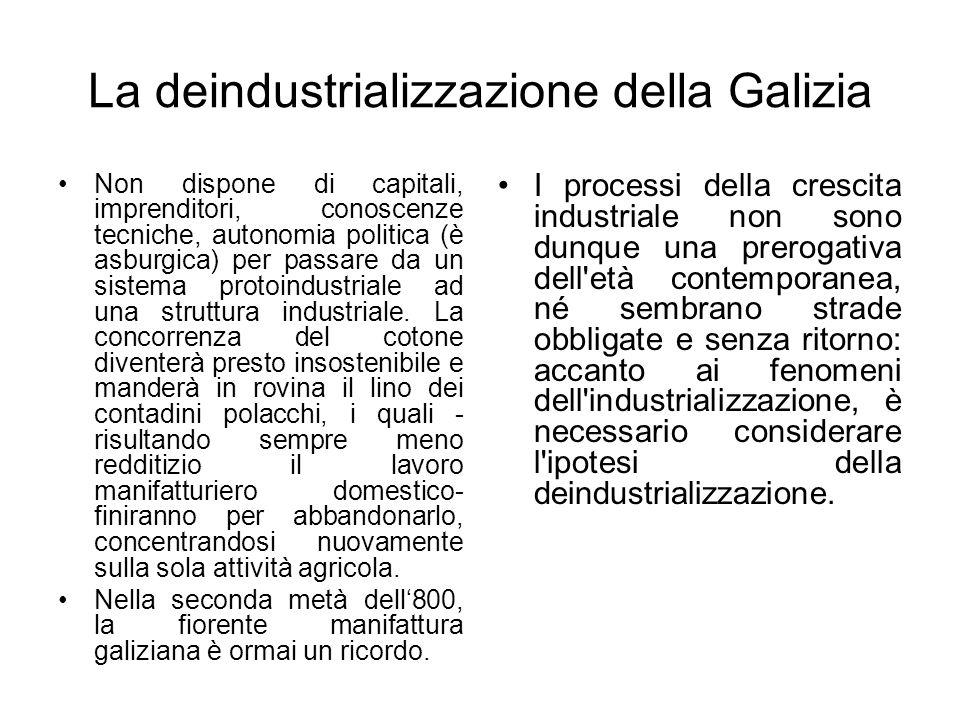 La deindustrializzazione della Galizia Non dispone di capitali, imprenditori, conoscenze tecniche, autonomia politica (è asburgica) per passare da un