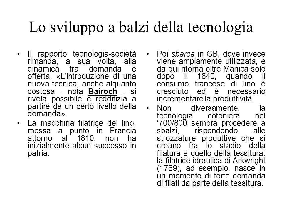 Lo sviluppo a balzi della tecnologia Il rapporto tecnologia-società rimanda, a sua volta, alla dinamica fra domanda e offerta. «L'introduzione di una