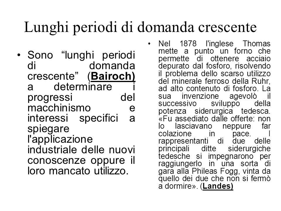 Lunghi periodi di domanda crescente Sono lunghi periodi di domanda crescente (Bairoch) a determinare i progressi del macchinismo e interessi specifici