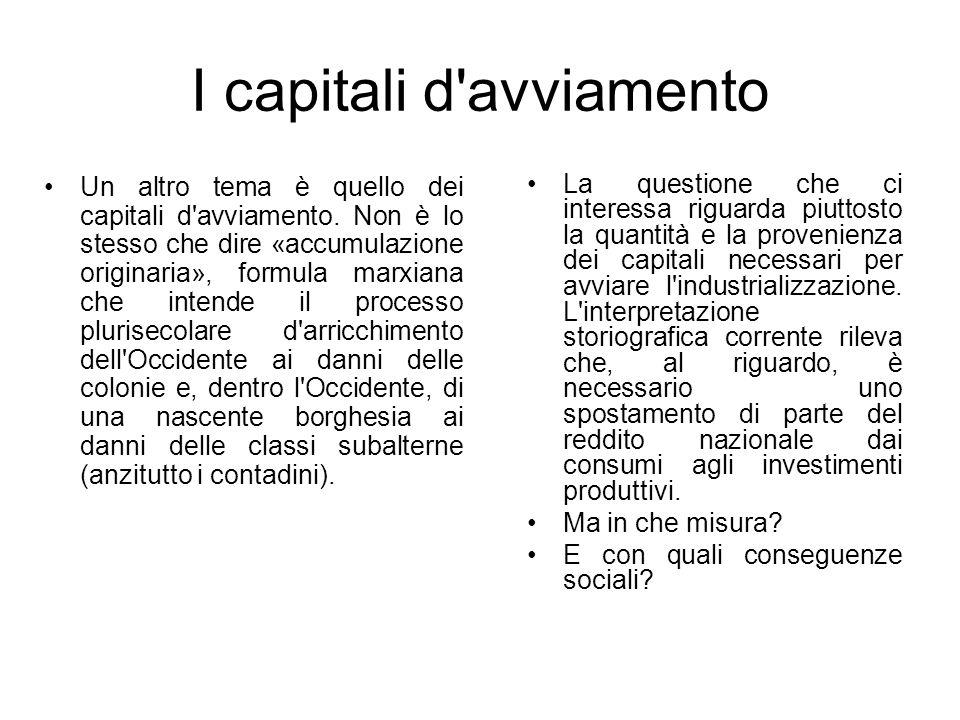 I capitali d'avviamento Un altro tema è quello dei capitali d'avviamento. Non è lo stesso che dire «accumulazione originaria», formula marxiana che in