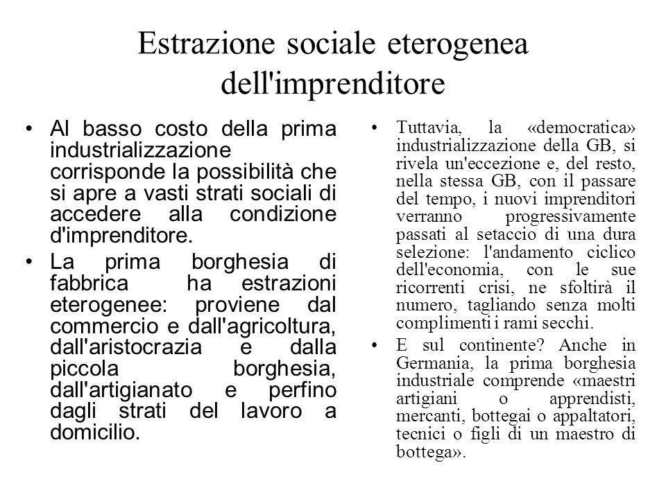 Estrazione sociale eterogenea dell'imprenditore Al basso costo della prima industrializzazione corrisponde la possibilità che si apre a vasti strati s