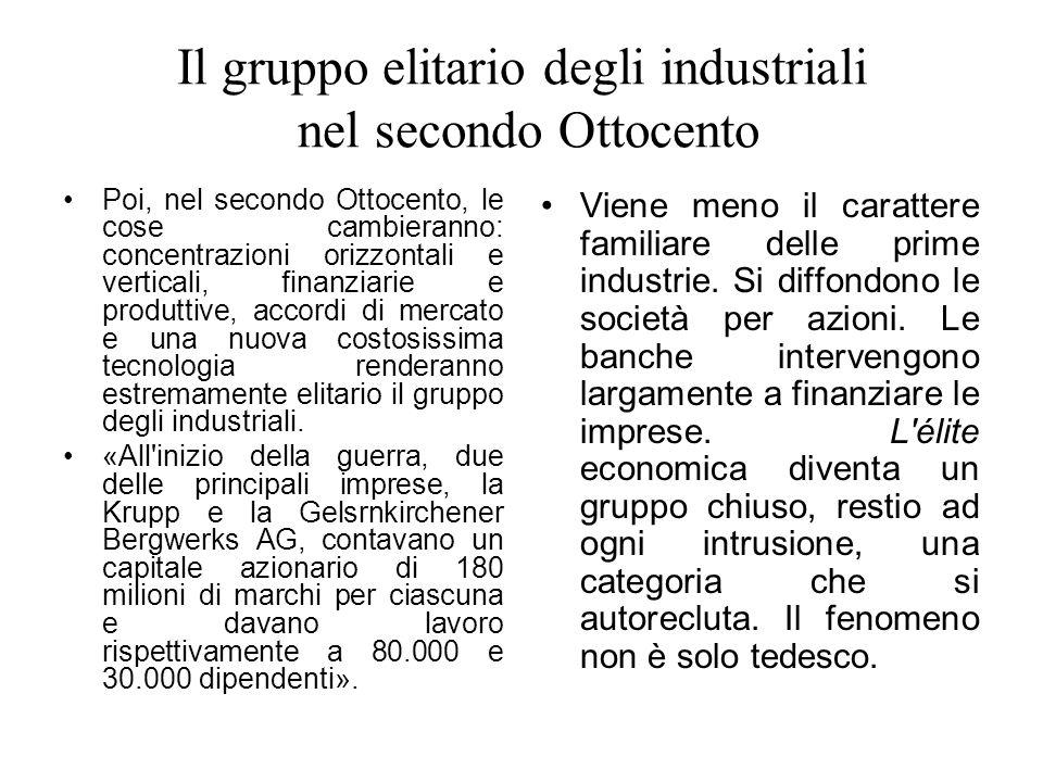 Il gruppo elitario degli industriali nel secondo Ottocento Poi, nel secondo Ottocento, le cose cambieranno: concentrazioni orizzontali e verticali, fi