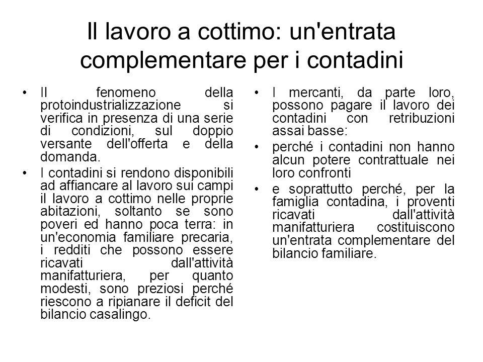 Il lavoro a cottimo: un'entrata complementare per i contadini Il fenomeno della protoindustrializzazione si verifica in presenza di una serie di condi