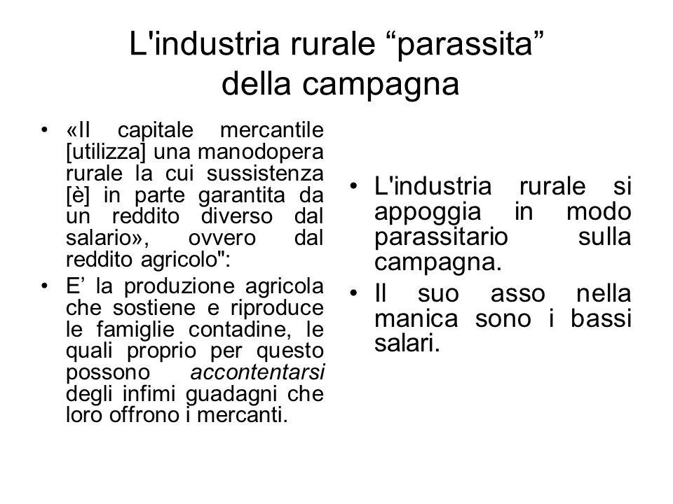 L'industria rurale parassita della campagna «II capitale mercantile [utilizza] una manodopera rurale la cui sussistenza [è] in parte garantita da un r