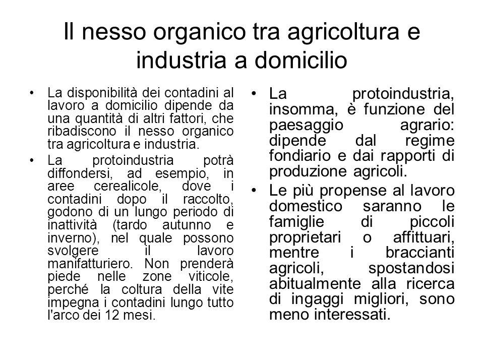 Il nesso organico tra agricoltura e industria a domicilio La disponibilità dei contadini al lavoro a domicilio dipende da una quantità di altri fattor