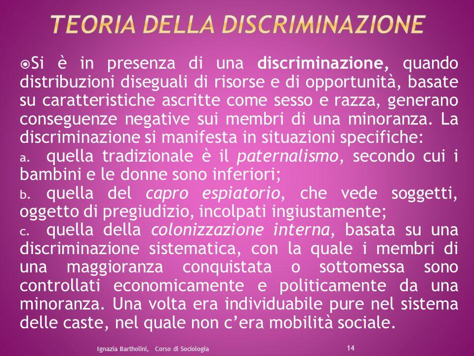 Si è in presenza di una discriminazione, quando distribuzioni diseguali di risorse e di opportunità, basate su caratteristiche ascritte come sesso e r