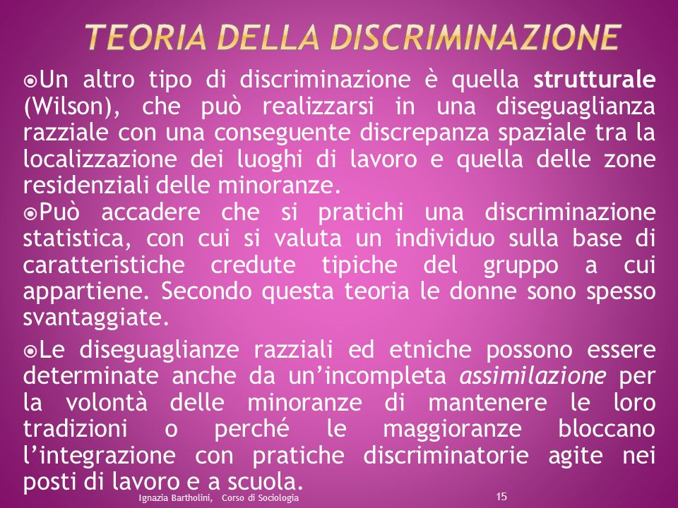 Un altro tipo di discriminazione è quella strutturale (Wilson), che può realizzarsi in una diseguaglianza razziale con una conseguente discrepanza spa
