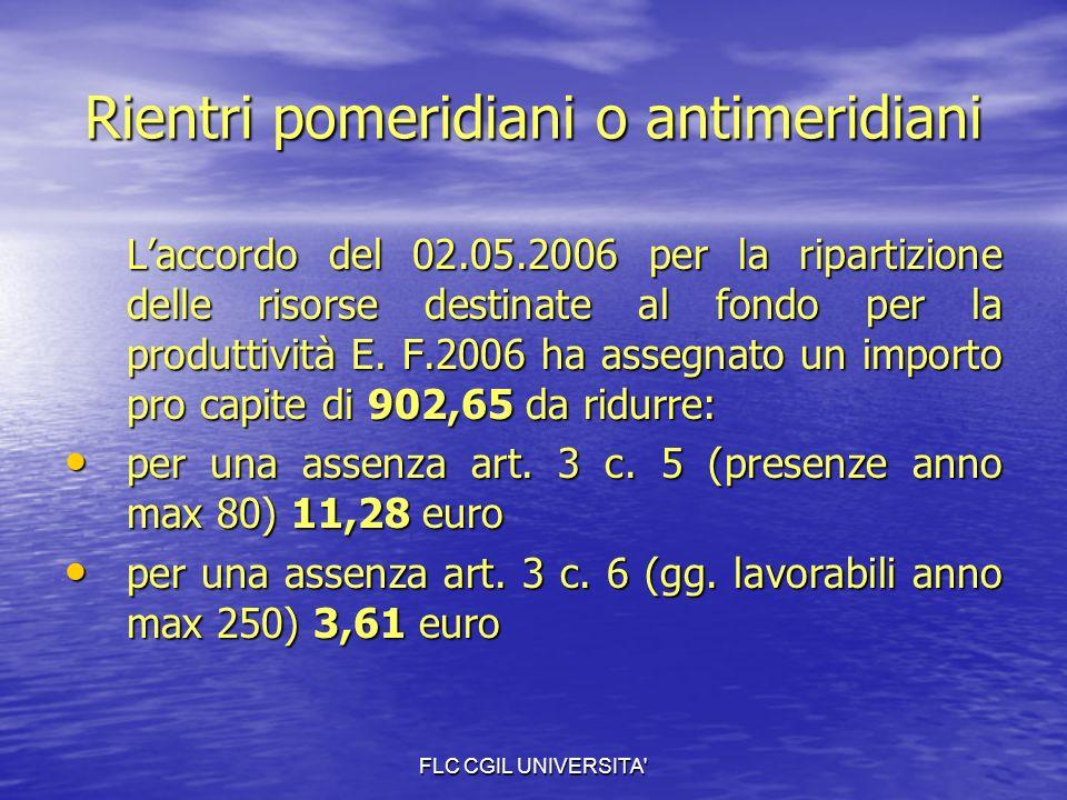 FLC CGIL UNIVERSITA Rientri pomeridiani o antimeridiani Laccordo del 02.05.2006 per la ripartizione delle risorse destinate al fondo per la produttività E.