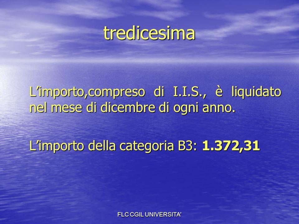 FLC CGIL UNIVERSITA tredicesima Limporto,compreso di I.I.S., è liquidato nel mese di dicembre di ogni anno.