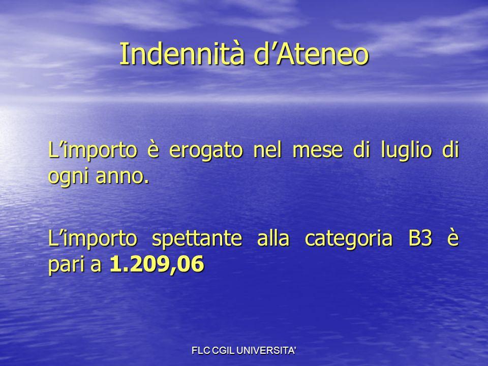 FLC CGIL UNIVERSITA Indennità dAteneo Limporto è erogato nel mese di luglio di ogni anno.