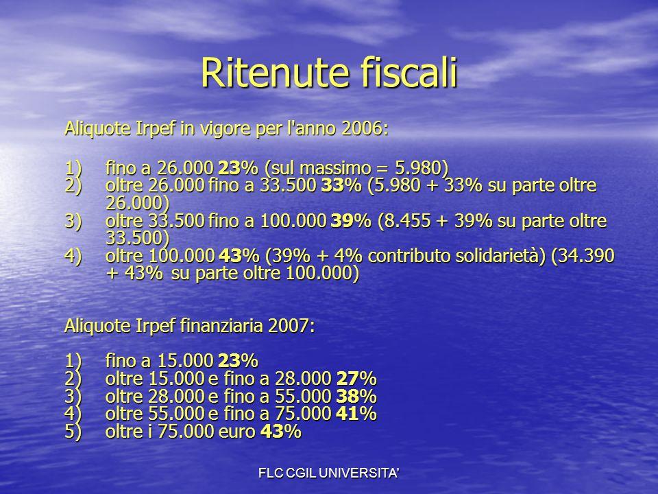 FLC CGIL UNIVERSITA Ritenute fiscali Aliquote Irpef in vigore per l anno 2006: 1)fino a 26.000 23% (sul massimo = 5.980) 2)oltre 26.000 fino a 33.500 33% (5.980 + 33% su parte oltre 26.000) 3)oltre 33.500 fino a 100.000 39% (8.455 + 39% su parte oltre 33.500) 4) oltre 100.000 43% (39% + 4% contributo solidarietà) (34.390 + 43% su parte oltre 100.000) Aliquote Irpef finanziaria 2007: 1) fino a 15.000 23% 2) oltre 15.000 e fino a 28.000 27% 3) oltre 28.000 e fino a 55.000 38% 4) oltre 55.000 e fino a 75.000 41% 5) oltre i 75.000 euro 43%