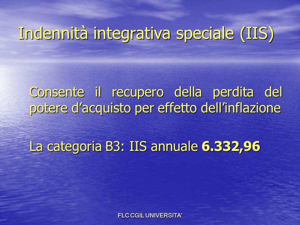 FLC CGIL UNIVERSITA Indennità integrativa speciale (IIS) Consente il recupero della perdita del potere dacquisto per effetto dellinflazione La categoria B3: IIS annuale 6.332,96