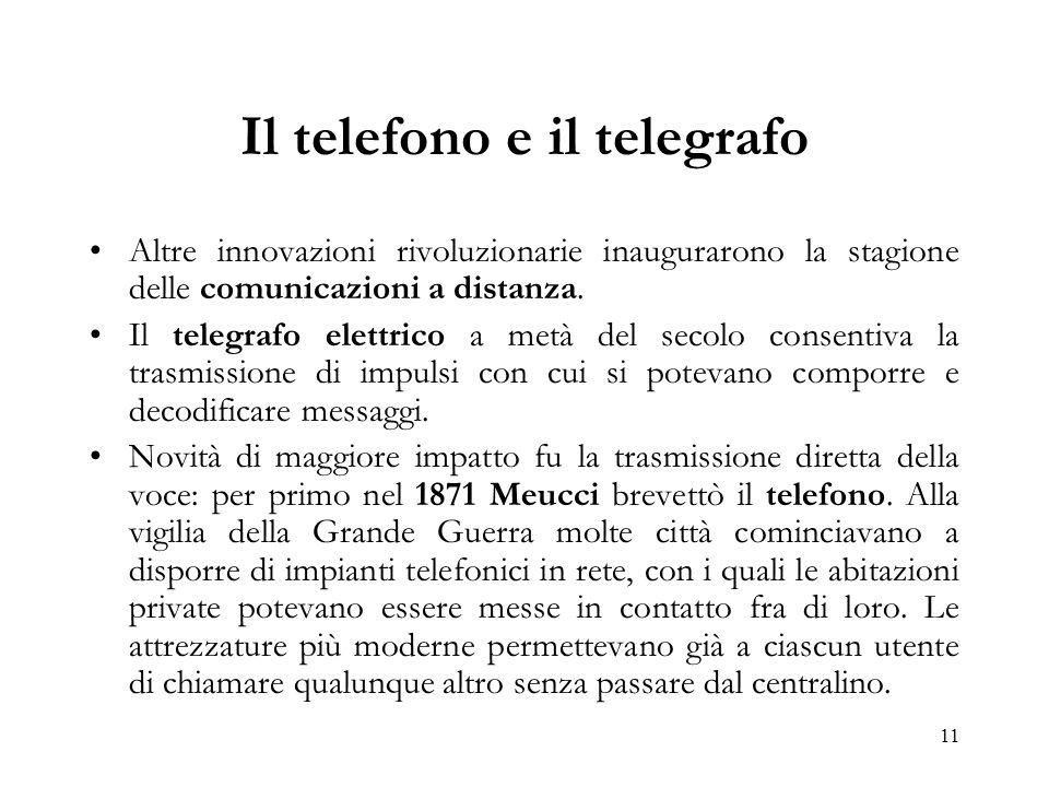 11 Il telefono e il telegrafo Altre innovazioni rivoluzionarie inaugurarono la stagione delle comunicazioni a distanza. Il telegrafo elettrico a metà