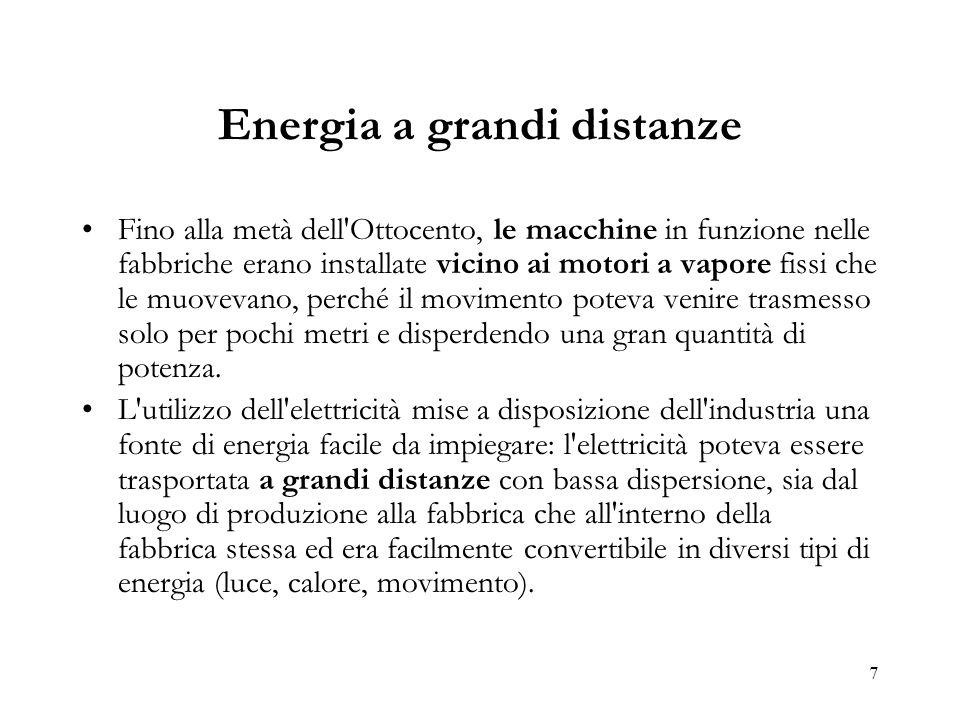 7 Energia a grandi distanze Fino alla metà dell'Ottocento, le macchine in funzione nelle fabbriche erano installate vicino ai motori a vapore fissi ch