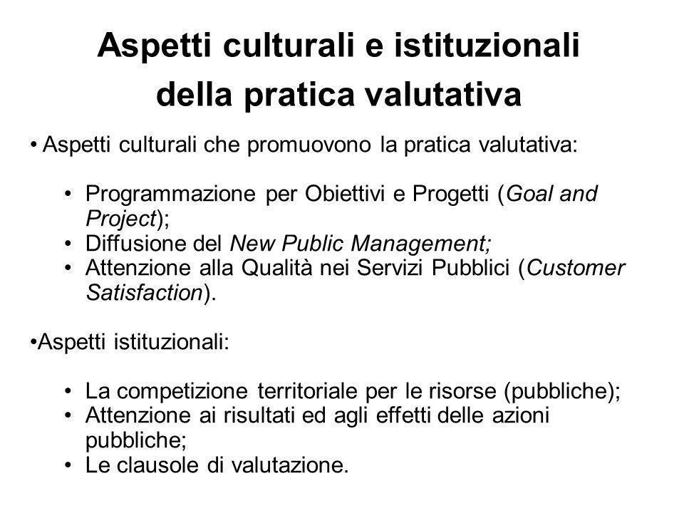 Aspetti culturali che promuovono la pratica valutativa: Programmazione per Obiettivi e Progetti (Goal and Project); Diffusione del New Public Management; Attenzione alla Qualità nei Servizi Pubblici (Customer Satisfaction).
