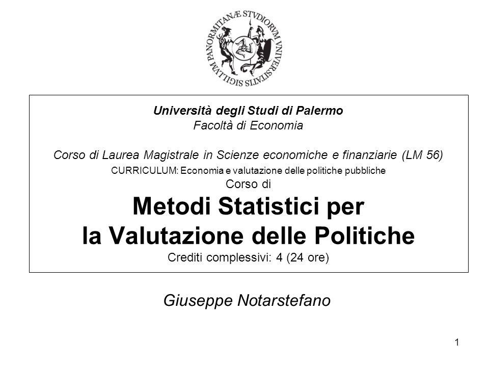 1 Università degli Studi di Palermo Facoltà di Economia Corso di Laurea Magistrale in Scienze economiche e finanziarie (LM 56) CURRICULUM: Economia e
