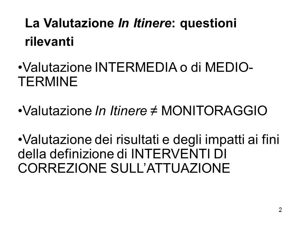 2 Valutazione INTERMEDIA o di MEDIO- TERMINE Valutazione In Itinere MONITORAGGIO Valutazione dei risultati e degli impatti ai fini della definizione d
