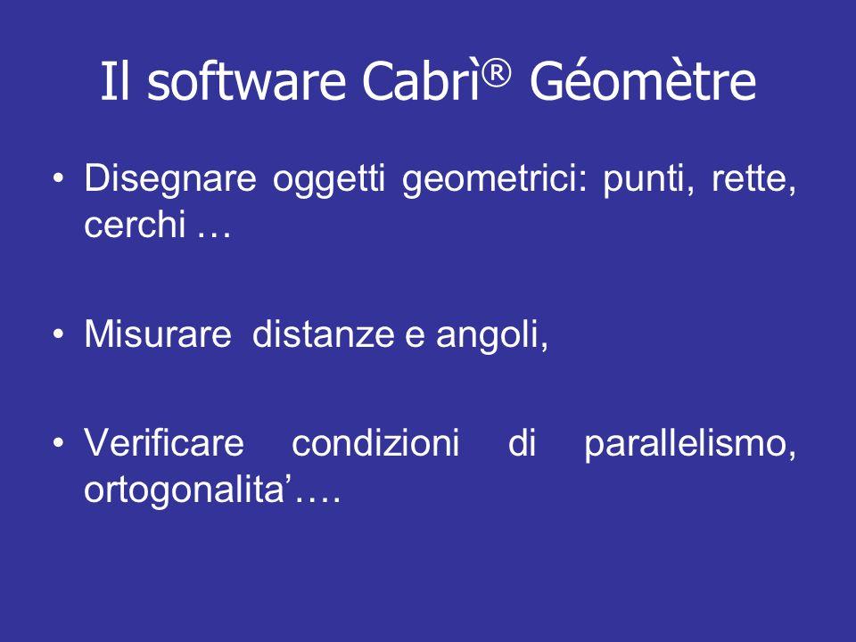 Il software Cabrì ® Géomètre Disegnare oggetti geometrici: punti, rette, cerchi … Misurare distanze e angoli, Verificare condizioni di parallelismo, o