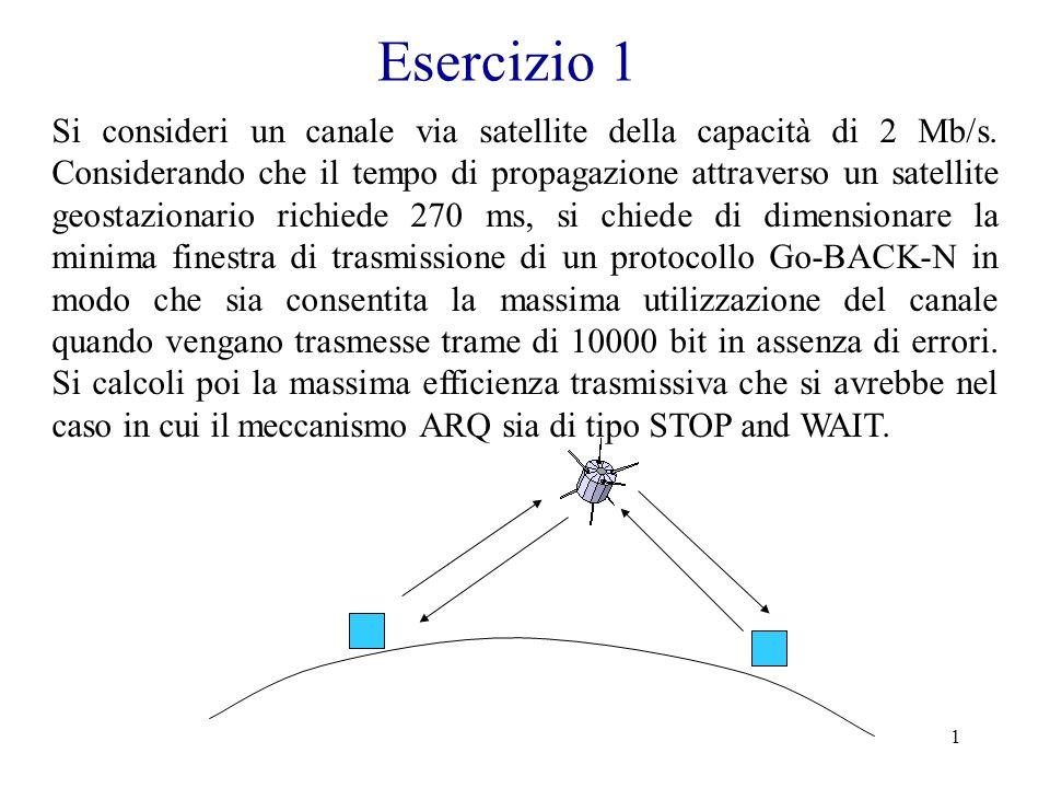 12 Esercizio 4 Esercizio b) Supponendo che la coda di trasmissione contenga solo 16 pacchetti, si calcoli il tempo che intercorre da quando il trasmettitore inizia a trasmettere il primo pacchetto a quando riceve il riscontro del prelievo dell ultimo pacchetto.