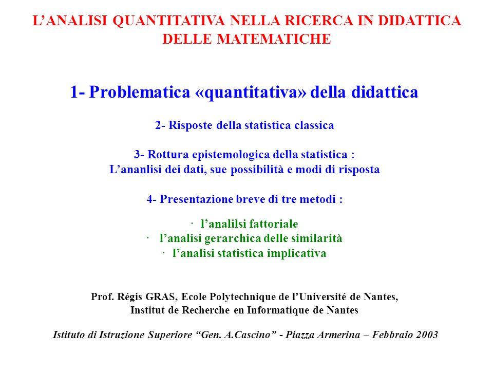 1-Problematica quantitativa in didattica La didattica cerca dei fondamenti teorici attraverso analisi dinchieste, osservazioni per : formulare delle ipotesi sullapprendimento esplicitare delle variabili didattiche Cercare delle invarianti, dei «teoremi» didattici Al fine di guadagnre in : · pertinenenza e rigore · validità, riproducibilità · predittibilità LANALISI QUANTITATIVA ….